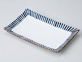 和食器 焼物皿/ 藍十草7.0焼物皿 /焼き物皿 ステーキ皿 焼き魚 焼き鳥 串カツ 業務用 家庭用 Plate for Grilled Food