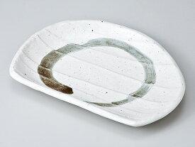 和食器 焼物皿 半月/ 粉引うず湖 半月皿 /焼き物皿 ステーキ皿 焼き魚 焼き鳥 串カツ 業務用 家庭用 Plate for Grilled Food(semicircular)