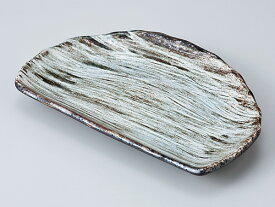 和食器 焼物皿 半月/ 白刷毛半月焼物皿 /焼き物皿 ステーキ皿 焼き魚 焼き鳥 串カツ 業務用 家庭用 Plate for Grilled Food(semicircular)