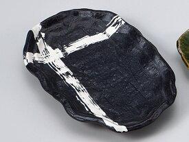 和食器 焼物皿/ 重ね格子焼物(黒) /焼き物皿 ステーキ皿 焼き魚 焼き鳥 串カツ 業務用 家庭用 Plate for Grilled Food