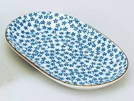 和食器 焼物皿/ 藍染紋様 小花楕円皿 /焼き物皿 ステーキ皿 焼き魚 焼き鳥 串カツ 業務用 家庭用 Plate for Grilled Food