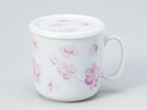 マグカップ 蓋付/ ピンク花チラシ蓋付マグ /紅茶 ハーブティー 家庭用 業務用 ギフト プレゼント 贈り物