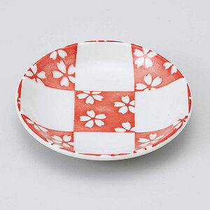 小皿 醤油皿/ 市松桜 赤30皿 /刺身 お新香 梅干し 珍味 陶器 業務用 家庭用 Small sized Plate