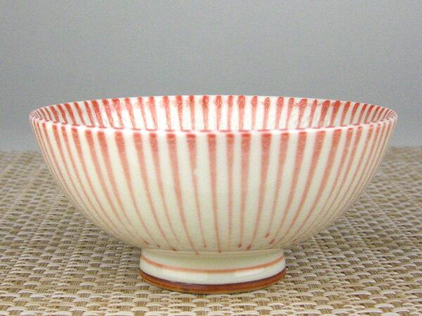 ごはんがつきにくい茶碗 十草(赤)中平