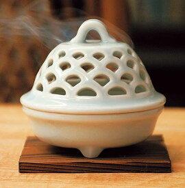 香炉 陶器/ 青磁 透し彫り 香炉 /アロマ プレゼント 贈り物 箱入り