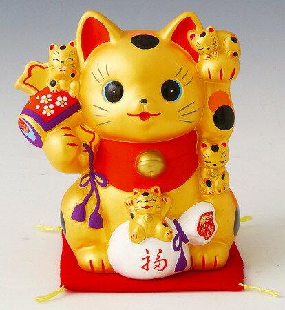金運猫づくし招き猫 貯金箱