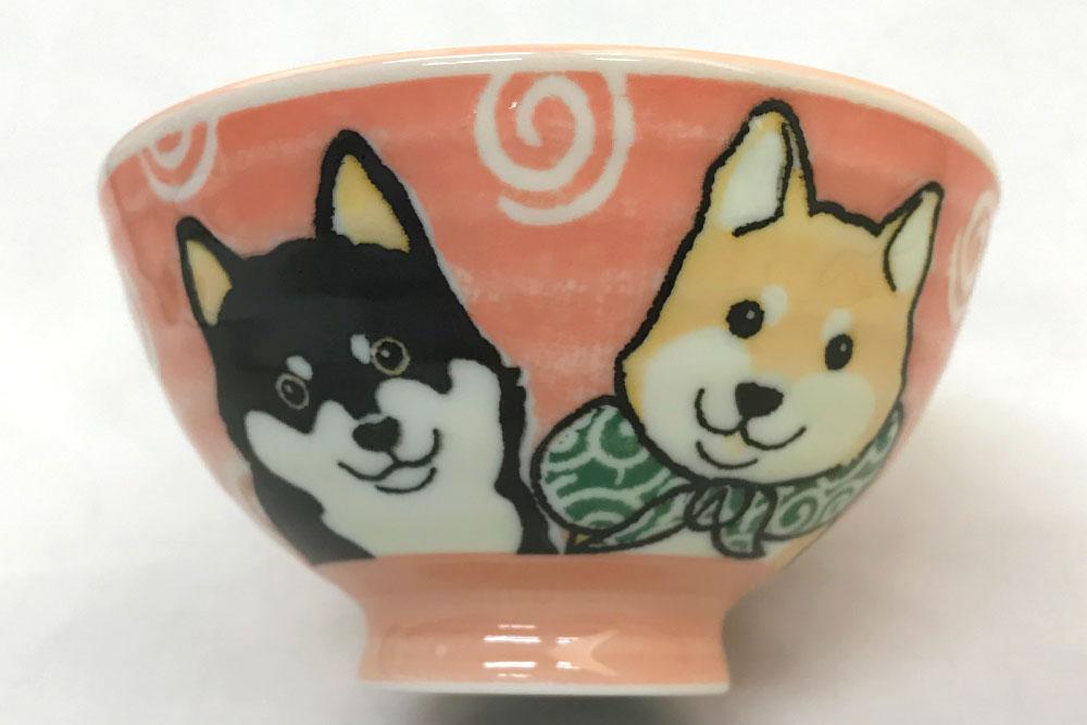 犬好き 飯椀 飯器/ 柴犬茶碗 赤 中平 /女性用 子供用