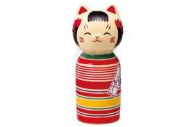 こけし 置物 インテリア ネコ 猫 開運 招福 かわいい /彩絵しあわせ猫こけし(ロクロ模様・大) /kawaii 開店祝い 母の日 贈り物