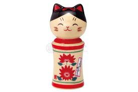 こけし 置物 インテリア ネコ 猫 開運 招福 かわいい /彩絵しあわせ猫こけし(菊花・小) /kawaii 開店祝い 母の日 贈り物