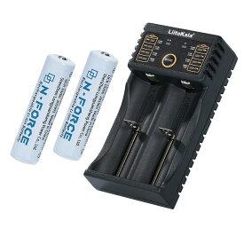 18650リチウムイオン電池+専用USB充電器セット USBケーブル付き 18650専用 アダプターは付属しません 2本同時充電