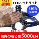 【2018年最新版】ヘッドライト 充電式ヘッドライト センサー点灯 電池付属 ヘッドランプ LED 釣り 登山 アウトドア 作業灯