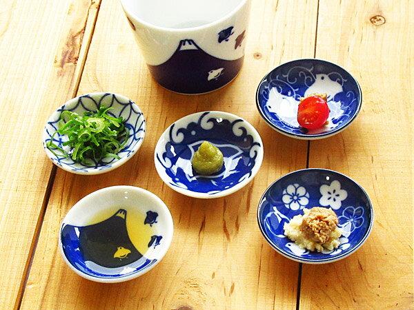 【10個までクロネコDM便で送料164円】 千鳥 染付け 豆皿 6.2cm 【 選べる5柄 美濃焼 和食器 薬味皿 小粒皿 ちどり インディゴブルー 藍 】