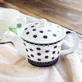 北欧風 茶こし付き ティーポット 490cc アウトレット込 1〜3人用 茶漉し付き 網付き 白い食器 陶器 洋食器 急須 ポット 白 紅茶 花柄 おしゃれ おうちカフェ カフェ風 可愛い おもてなし