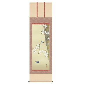 掛軸 酒井抱一 桜に小禽図 (さくらにしょうきんず) 尺五 (KZ3G9-092) (代引き不可)