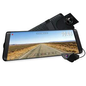 【新品】AUTO-VOX X2 ドライブレコーダー 前後カメラ ルームミラーモニター デジタルインナーミラー バックモニターカメラセット9.88インチタッチパネル 1296PフルHD 同時録画 駐車監視 暗視機能 GPS速度測定 車線逸脱警報 防水構造