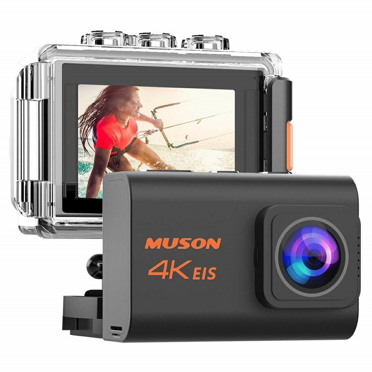 【あす楽】【新型】MUSON(ムソン) アクションカメラ 4K高画質 2000万画素 手振れ補正 WiFi搭載 外部マイク対応 30M防水 自撮り棒付き 1200mAhバッテリー2個 [メーカー1年保証] 170度広角レンズ リモコン付き 2インチ液晶画面 HDMI出力 Pro3 ブラック
