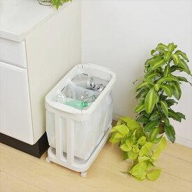 [新輝合成] レジ袋ホルダーキャスター付 ホワイト ゴミ箱 とって付きポリ袋 ダストボックス レジ袋スタンド ゴミ袋スタンド[ 5500円以上 送料無料 ]