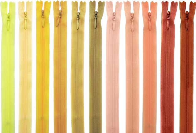 【56cm】YKKコンシールファスナー 薄地(2cc) 色:黄・オレンジ系 全86色 ≪30本までメール便OK≫