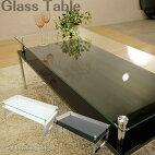 ガラステーブル2色対応スタイリッシュガラステーブルガラステーブルテーブルローテーブルセンターテーブル金属脚強化ガラス飛散防止シートクロームメッキブラックホワイト