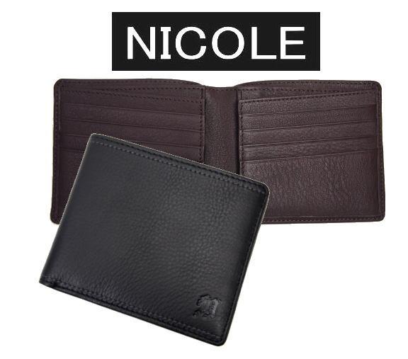 NICOLEニコル・メンディ2二つ折り財布 小銭入れなし