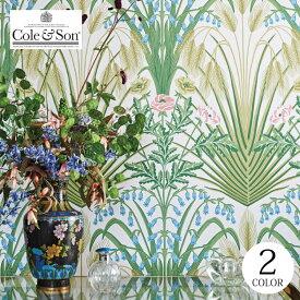 【送料無料】 輸入壁紙 イギリス製 花柄 グリーン アールヌーボー ボタニカル 布 のりなし壁紙 Cole & Son/コールアンドサン (52cm×10m/ロール) 115/3008 全2色 グリーン ブラック クロス DIY リフォーム [1ロール単位]