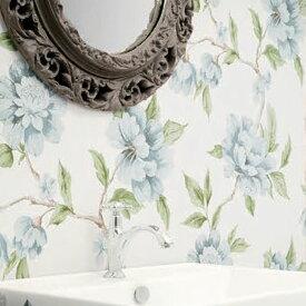 【 壁紙 のりなし 】 壁紙 のりなし クロス フラワー ボタニカル 花 ブルー 青 防かび シンコール BB-1750