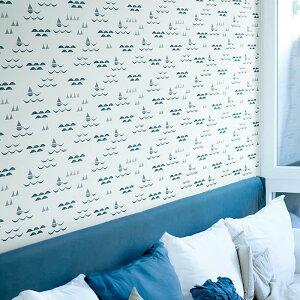 【 壁紙 のりなし 】 壁紙 のりなし パターン ヨット マリン 海 イラスト 防かび リリカラ LL-5246