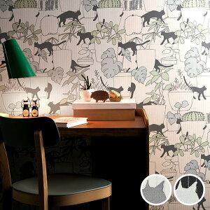 【 壁紙 のり付き 】 壁紙 のりつき クロス ねこ ネコ 猫 防かび ルノン RH-4691〜RH-4692