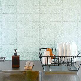 貼ってはがせる シール壁紙 リメイクシート「Hatte me(ハッテミー)」アンティークタイル柄 ミント ATOG-02(65cm×1m) 壁紙屋本舗