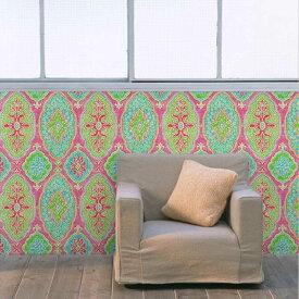 貼ってはがせる シール壁紙 リメイクシート「Hatte me(ハッテミー)」BOHO柄 ピンク BOHO-C3(65cm×1m) 壁紙屋本舗