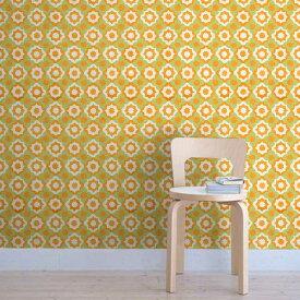貼ってはがせる シール壁紙 リメイクシート「Hatte me(ハッテミー)」復刻ヴィンテージ柄 イエローグリーンxオレンジ FKVT-A5(65cm×1m) 壁紙屋本舗