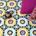 貼ってはがせる床のリメイクシート「Hatte me Floor(ハッテミーフロア)」フロア モロッコタイル柄 ブルーxグリーン F…