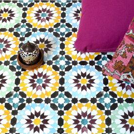 貼ってはがせる床のリメイクシート「Hatte me Floor(ハッテミーフロア)」フロア モロッコタイル柄 ブルーxグリーン FL-MORO-01(65cm×1m)
