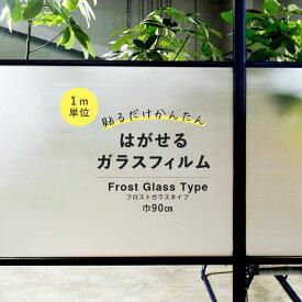 はがせる ガラスフィルム 吸着タイプ 窓 目隠し シートフロストガラスタイプ【1m単位で切り売り】