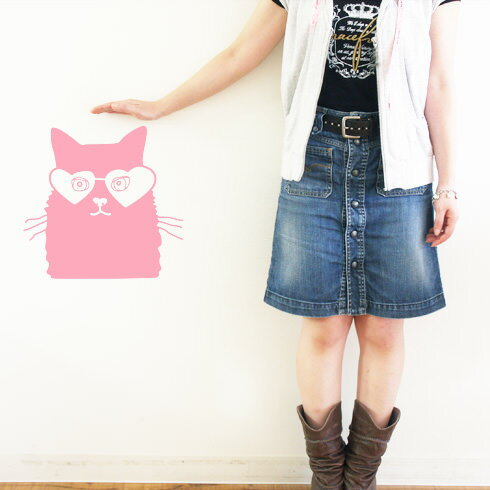【即日発送可能】本舗オリジナルステッカーめがねにゃんこ「Glasses cat」FP-0056D 全16色【すぐ発送可能!】【POSH】※メーカー直送商品【メーカー直送のため代引き不可】