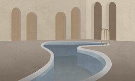 アートパネル 10cm単位でサイズオーダーできる 絵画 壁掛け インテリア 壁飾り キャンバス アート ウォール アーチ プール イラスト ベージュ e328272