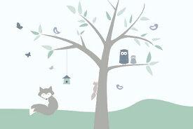 キッズ こども部屋 赤ちゃん ベビーの壁紙 輸入 カスタム壁紙 PHOTOWALL / Animal Tree - green (e21889) 貼ってはがせるフリース壁紙(不織布) 【海外取り寄せのため1カ月程度でお届け】 【代引き不可】