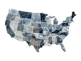 アート 絵画 地図の壁紙 輸入 カスタム壁紙 PHOTOWALL / USA Watercolor Map Blue (e22721) 貼ってはがせるフリース壁紙(不織布) 【海外取り寄せのため1カ月程度でお届け】 【代引き不可】
