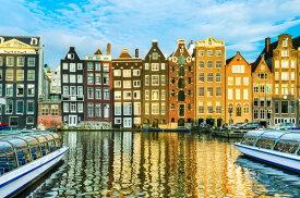 アート 絵画の壁紙 輸入 カスタム壁紙 PHOTOWALL / Traditional Houses of Amsterdam, Netherlands (e22818) 貼ってはがせるフリース壁紙(不織布) 【海外取り寄せのため1カ月程度でお届け】 【代引き不可】