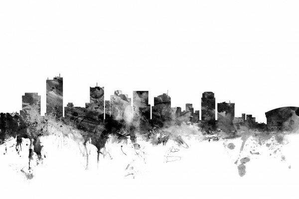 建築 建物 アート 絵画の壁紙輸入 カスタム壁紙 PHOTOWALL / Phoenix Arizona Skyline Black (e25415)貼ってはがせるフリース壁紙(不織布)【海外取り寄せのため1カ月程度でお届け】【代引き不可】