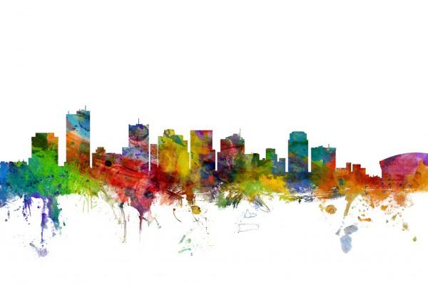 建築 建物 アート 絵画の壁紙輸入 カスタム壁紙 PHOTOWALL / Phoenix Arizona Skyline (e30471)貼ってはがせるフリース壁紙(不織布)【海外取り寄せのため1カ月程度でお届け】【代引き不可】【海外取り寄せ送料無料・国内送料のみでお届け】