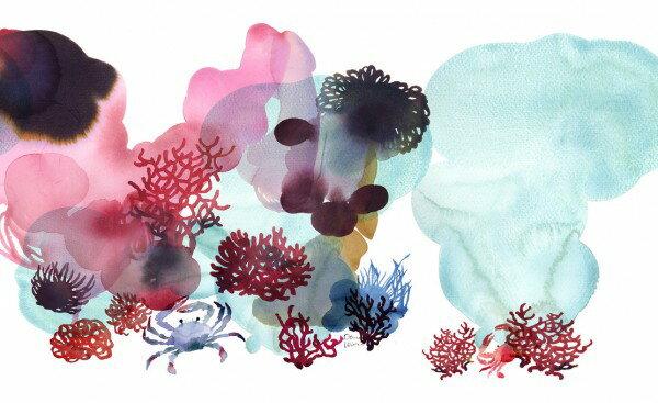 カニ 蟹サンゴ 珊瑚 コーラルアート 絵画 絵 水彩画海 こども部屋の壁紙輸入 カスタム壁紙 PHOTOWALL / Water Color Coral II (e311289)貼ってはがせるフリース壁紙(不織布)【海外取り寄せのため1カ月程度でお届け】【代引き不可】