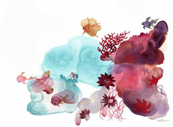 サカナ 魚 カニ サンゴ アート 絵画 水彩画 海 こども部屋の壁紙輸入 カスタム壁紙 PHOTOWALL / Water Color Coral IV (e311291)貼ってはがせるフリース壁紙(不織布)【海外取り寄せのため1カ月程度でお届け】【代引き不可】