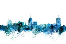 フレズノ カリフォルニア州 シルエット 水彩 都市 青 アートの壁紙 輸入 カスタム壁紙 PHOTOWALL / Fresno California Skyline (e311691) 貼ってはがせるフリース壁紙(不織布) 【海外取り寄せのため1カ月程度でお届け】 【代引き不可】