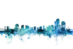 ウィルミントン デラウェア州 シルエット 水彩 都市 青 アートの壁紙輸入 カスタム壁紙 PHOTOWALL / Wilmington Delaware Skyline (e311693)貼ってはがせるフリース壁紙(不織布)【海外取り寄せのため1カ月