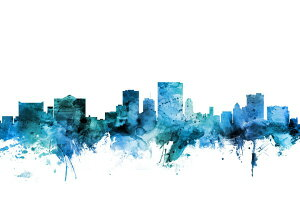 エルパソ テキサス州 シルエット 水彩 都市 青 アートの壁紙 輸入 カスタム壁紙 PHOTOWALL / El Paso Texas Skyline (e311698) 貼ってはがせるフリース壁紙(不織布) 【海外取り寄せのため1カ月程度でお届