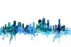 ブリスベン シルエット 水彩 都市 青 アートの壁紙 輸入 カスタム壁紙 PHOTOWALL / Brisbane Australia Skyline (e311707) 貼ってはがせるフリース壁紙(不織布) 【海外取り寄せのため1カ月程度でお届け】 【代引き・後払い不可】