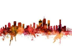 ブリスベン 水彩 アート 都市 シルエット 赤 レッドの壁紙 輸入 カスタム壁紙 PHOTOWALL / Brisbane Australia Skyline (e311945) 貼ってはがせるフリース壁紙(不織布) 【海外取り寄せのため1カ月程度でお届け】 【代引き・後払い不可】