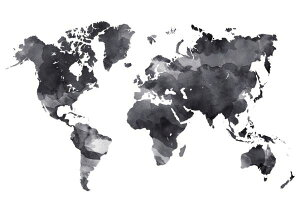 世界地図の壁紙 輸入 カスタム壁紙 PHOTOWALL / Black Ink Map (e315862) 貼ってはがせるフリース壁紙(不織布) 【海外取り寄せのため1カ月程度でお届け】 【代引き・後払い不可】