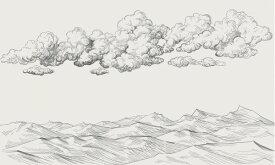 雲 山 版画 イラスト アイボリー オフホワイト アンティークの壁紙 輸入 カスタム壁紙 PHOTOWALL / Between Clouds and Earth - Bright (e318458) 貼ってはがせるフリース壁紙(不織布) 【海外取り寄せのため1カ月程度でお届け】 【代引き・後払い不可】